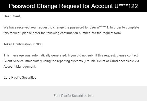 client portal password security token